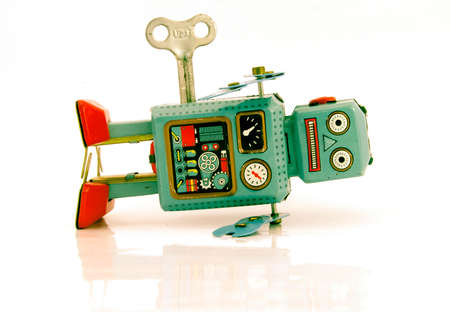 vermoeide robot retro robot toy Stockfoto