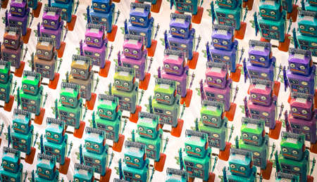 clones: a large group of retro robots Stock Photo