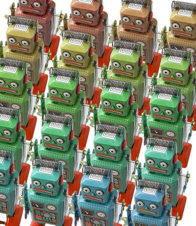 obedecer: un gran grupo de robots retro