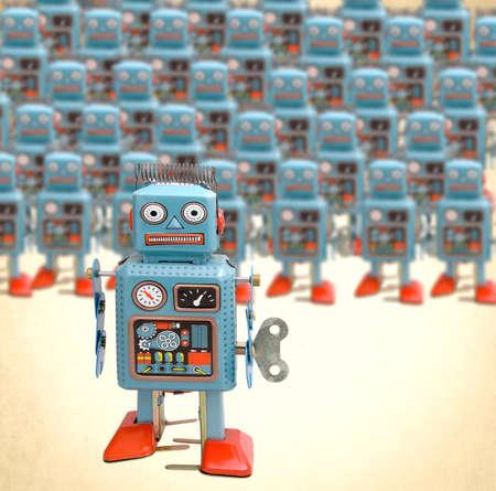 a large group of retro robots Reklamní fotografie