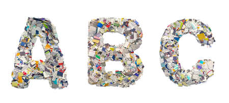abc: A B C , made from newspaper confeti