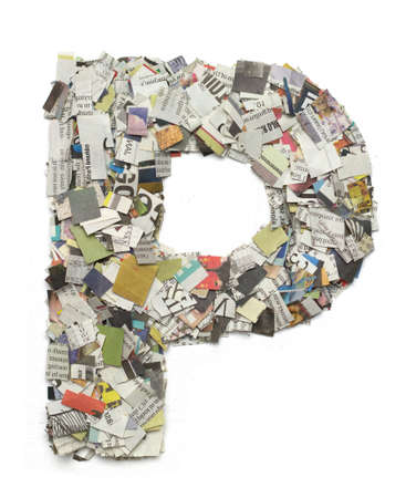 cuttings: The letter P  made from newspaper confetti Stock Photo