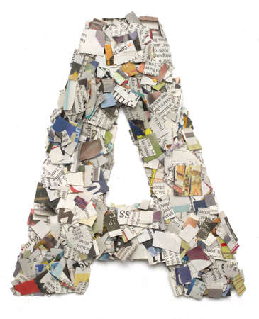 The letter A made from newspaper confetti 스톡 콘텐츠