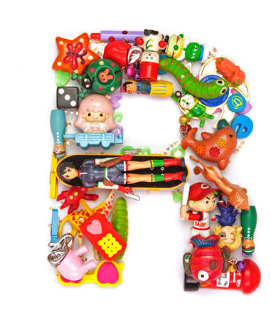r: the letter R made from small toys