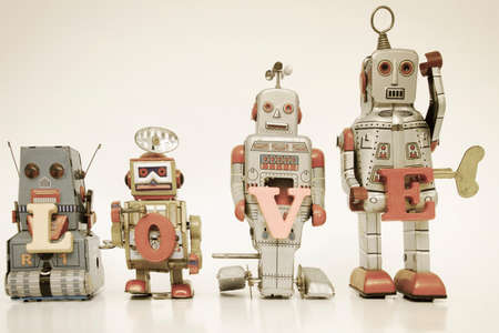 kitsch: robot toys say the word love Stock Photo