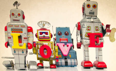tin: robot toys say the word love Stock Photo