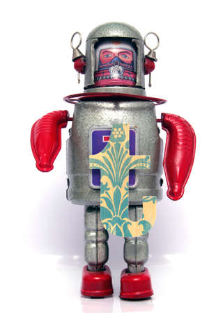 windup: retro robot with the letter  t