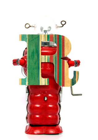 retro robot: retro robot with the letter  R