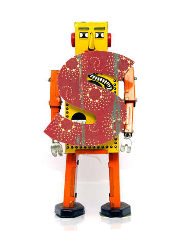 retro robot: retro robot with the letter  s Stock Photo