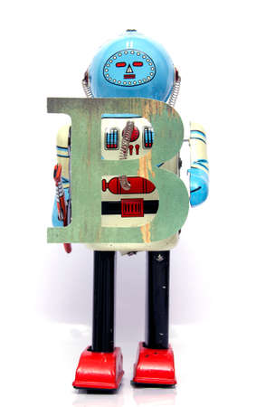 retro robot: retro robot with the letter  B Stock Photo