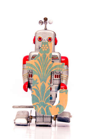 retro robot: retro robot with the letter  t