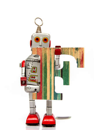retro robot: retro robot with the letter  F