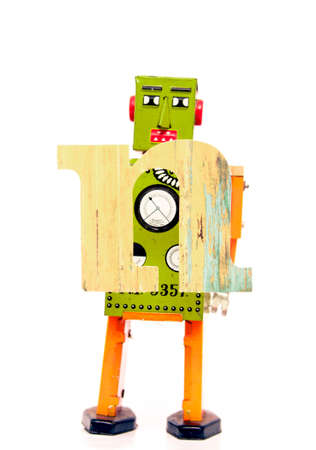 retro robot: retro robot with the letter  n