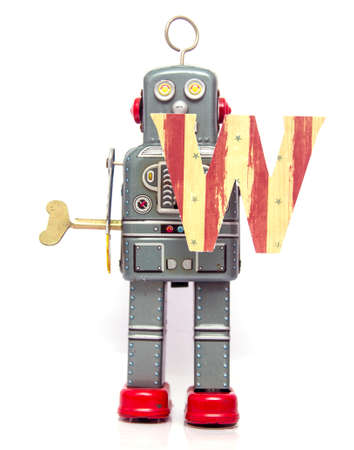 retro robot: retro robot with the letter  W