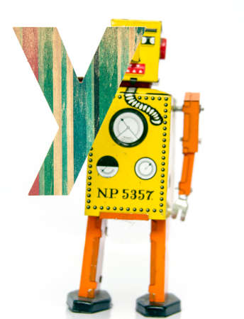 old letters: retro robot with the letter  Y
