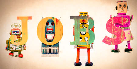 recruit help: robot Job concept Stock Photo