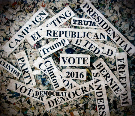 conservatives: political words on Newspaper confetti