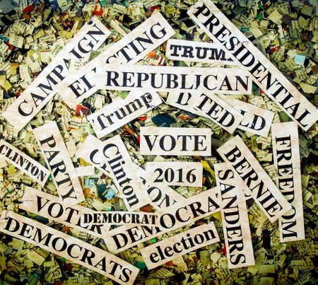 campaigning: political words on Newspaper confetti
