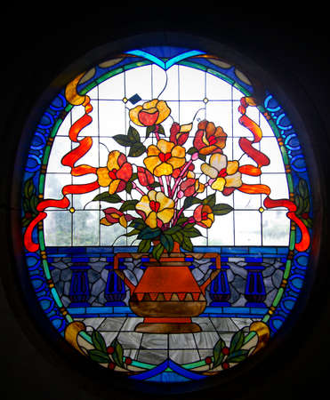 glasswork: fioral staied glass window