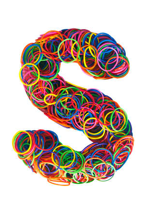 the letter S mad from elastic bands