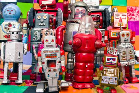 diversity: Happy robots having fun together Stock Photo