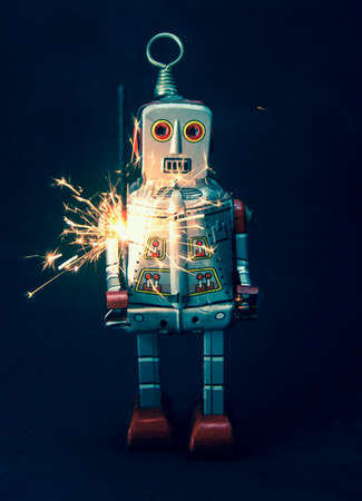 robot and sparkes Stock Photo