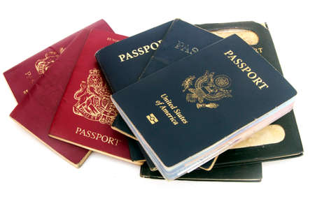 a colection of old used passports  Stock Photo
