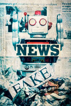 가짜 뉴스 개념 wirh 장난감 로봇