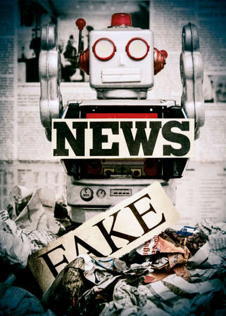 disinformation: retro news robot concept image