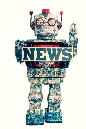 vintage news robot concept imahe  版權商用圖片