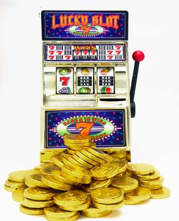 vintage slot machines isolated on white