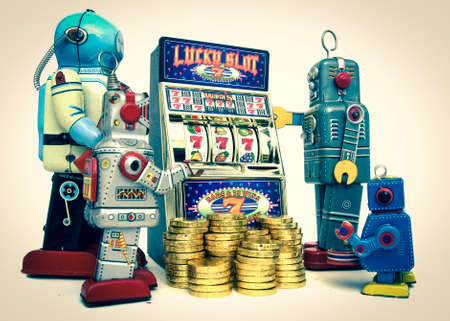 wheel spin: vintage robots gather around a old slot machine