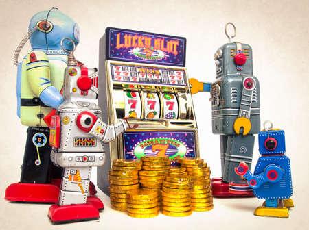 vintage robots gather around a old slot machine