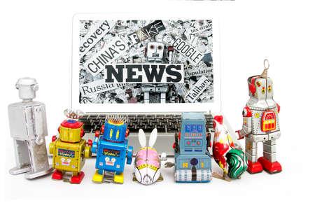 mislead: vintage robots watching fake news
