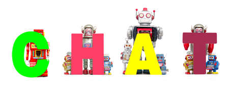 vintage toy robots holding up the word CHAT .