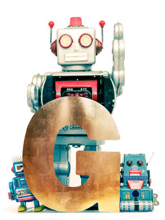 G is for Gold  with vintage robots