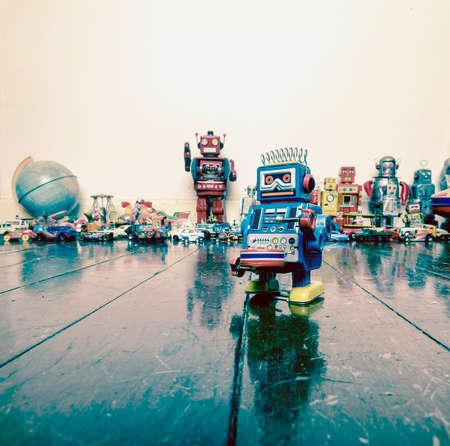 Drummer robot op houten vloer Stockfoto - 75382251