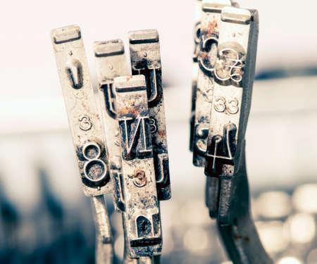 oxidado: Macro si el letterN vieja máquina de escribir