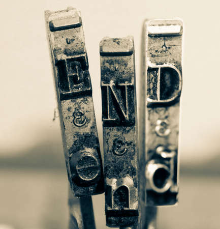 the word  END  made from old typewriter text Reklamní fotografie