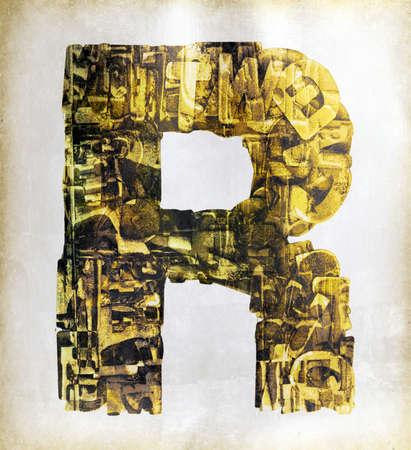big uppercase letter R   layers of metalic gold letters