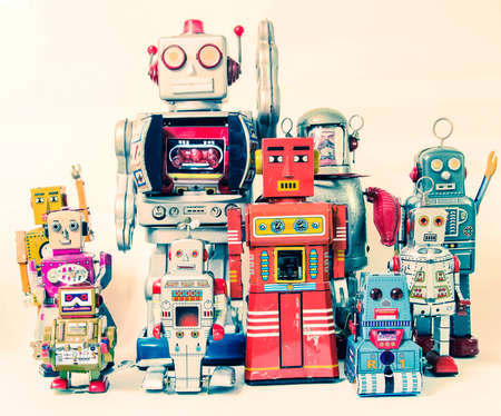 Vintage robot toys team  toned image Editorial