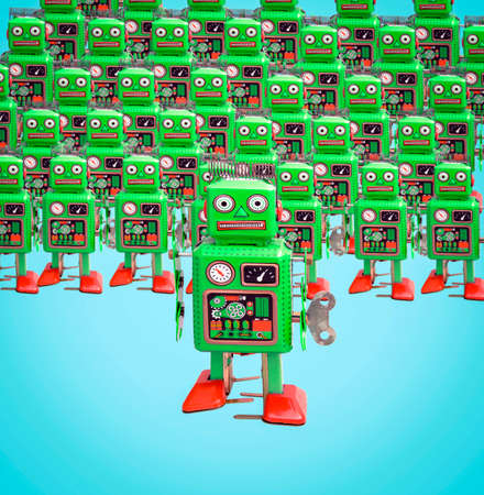a army of green robot toys on  isolated on blue