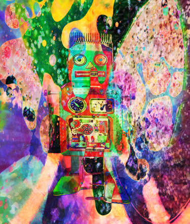 little robot on psychedelic background