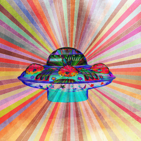 bright color abstract ufo pop art  스톡 콘텐츠