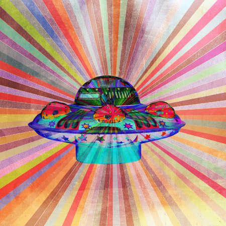bright color abstract ufo pop art  Banque d'images