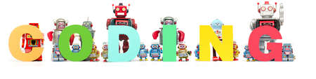 retro tin robot toys hold up the word CODING isolated on white