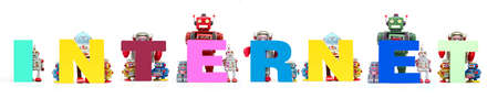retro tin robot toys hold up the word   INTERNET solated on white banner
