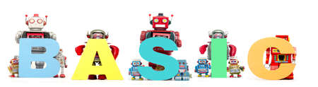 retro tin robot toys hold up the word  BASIC solated on white