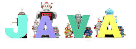 retro tin robot toys hold up the word  JAVA isolated on white banner