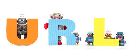 retro tin robot toys hold up the acronym URL isolated on white